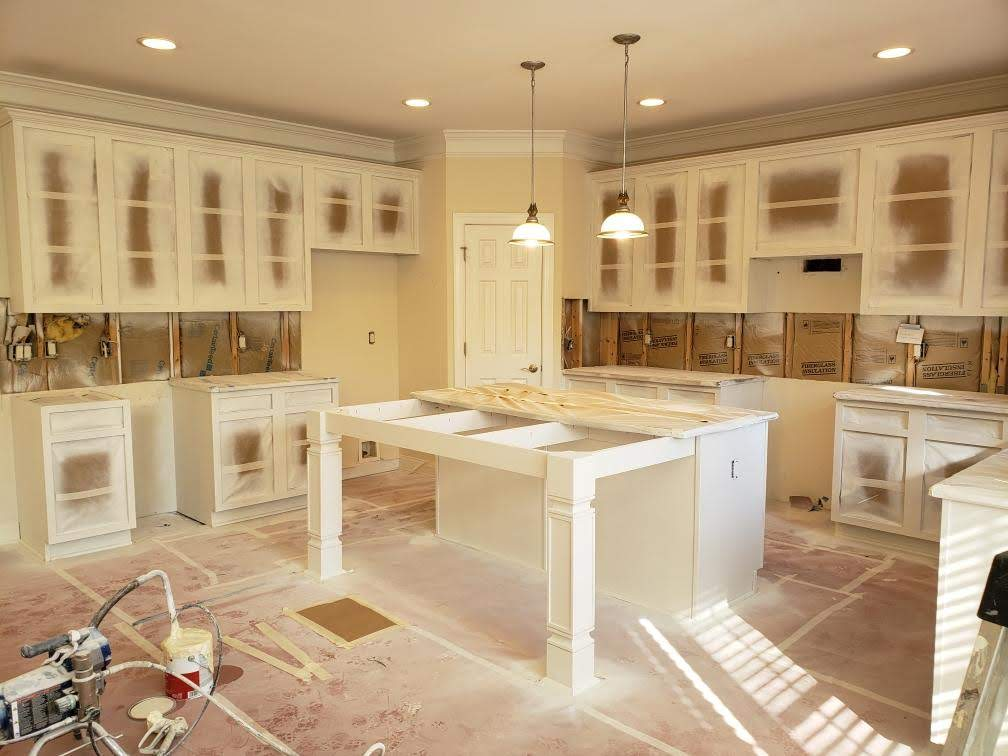 Alabaster Sherwin Williams cabinet paint color in kitchen